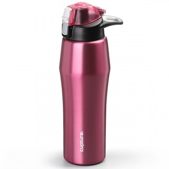Cupture Action Bottle Flip Top with Handle - 22oz Double Wall Vacuum-Insulated Stainless Steel Water Bottle (Pink)