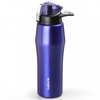 Cupture Action Bottle Flip Top with Handle - 22oz Double Wall Vacuum-Insulated Stainless Steel Water Bottle (Purple)