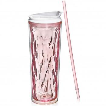 Crystal Tumbler 22 oz - Pink Rose