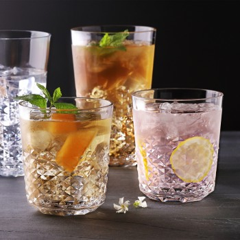 Diamond Plastic Tumblers, 24 oz / 14 oz, 8 Pack (Clear)