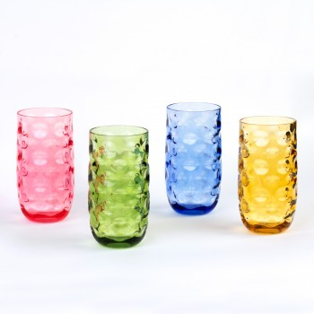 Impression Plastic Tumblers, 20 oz, 4 Pack (Assorted Colors)