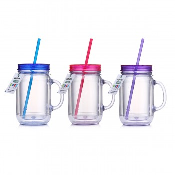 Mason Tumbler 20 oz, 3 Pack (Blue, Pink, Purple)