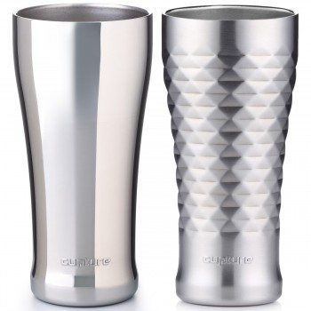 Stainless Steel Pint Cup 16 oz, 2 Pack (Chrome, Quilted)
