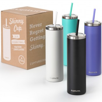 Stainless Steel Skinny Cup - 16 oz, 4 pack