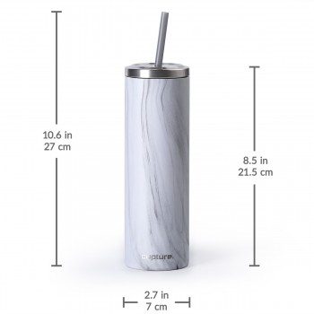 Stainless Steel Skinny Cup - 16 oz, White Marble