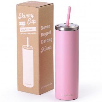 Stainless Steel Skinny Cup - 16 oz, Blush Pink