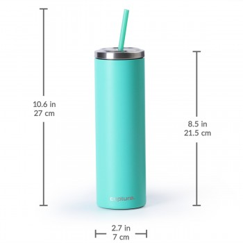 Stainless Steel Skinny Cup - 16 oz, Bright Teal
