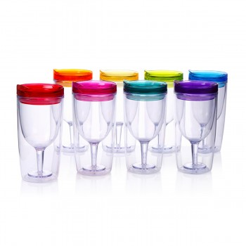 Wine Tumbler 10 oz, 8 Pack (Multicolor)