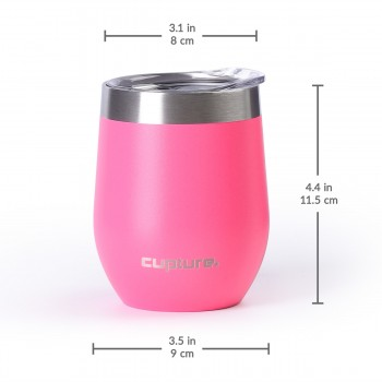 Stainless Steel Stemless Wine Tumbler - 12 oz, Hot Pink