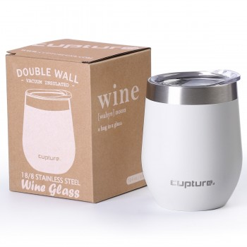 Stainless Steel Stemless Wine Tumbler - 12 oz, Winter White
