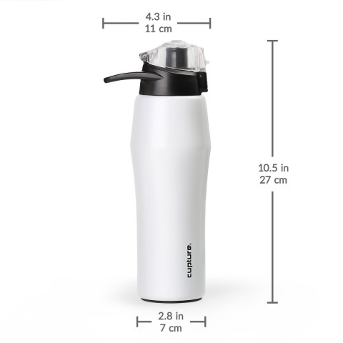 Cupture Action Bottle Flip Top with Handle - 22oz Double Wall Vacuum-Insulated Stainless Steel Water Bottle (White)