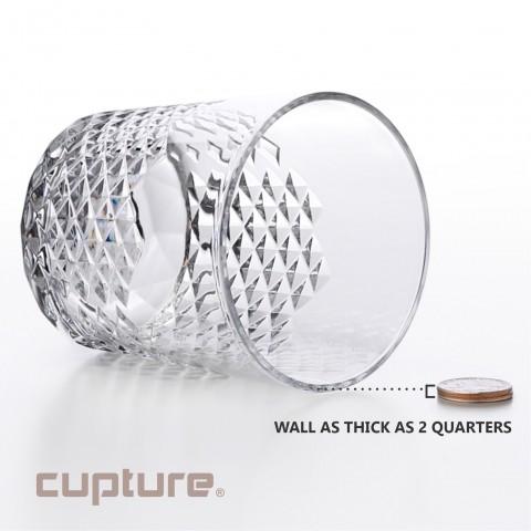 Diamond Plastic Tumblers, 24 oz / 14 oz, 8 Pack (Clear)