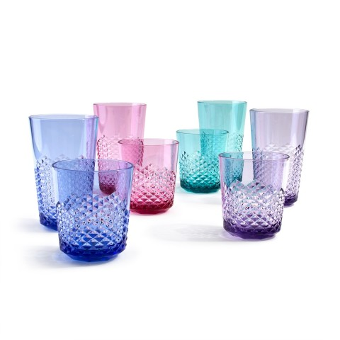 Diamond Plastic Tumblers, 24 oz / 14 oz, 8 Pack (Assorted Colors)