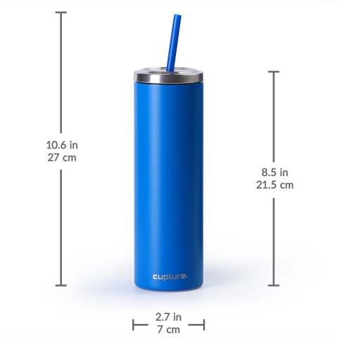 Stainless Steel Skinny Cup - 16 oz, Electric Blue