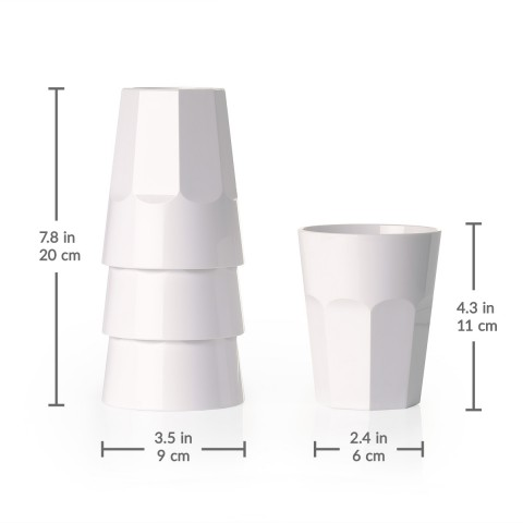 The Small Cup - Plastic Tumblers, 12 oz, 6-Pack (White)