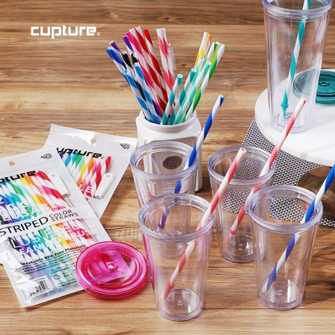 Striped Color Straws 12 Pack