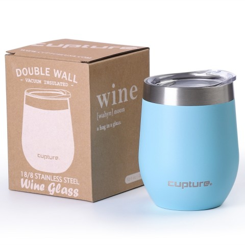 Stainless Steel Stemless Wine Tumbler - 12 oz, Glacier Blue