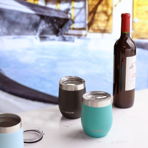 Stainless Steel Stemless Wine Tumbler - 12 oz, Bright Teal