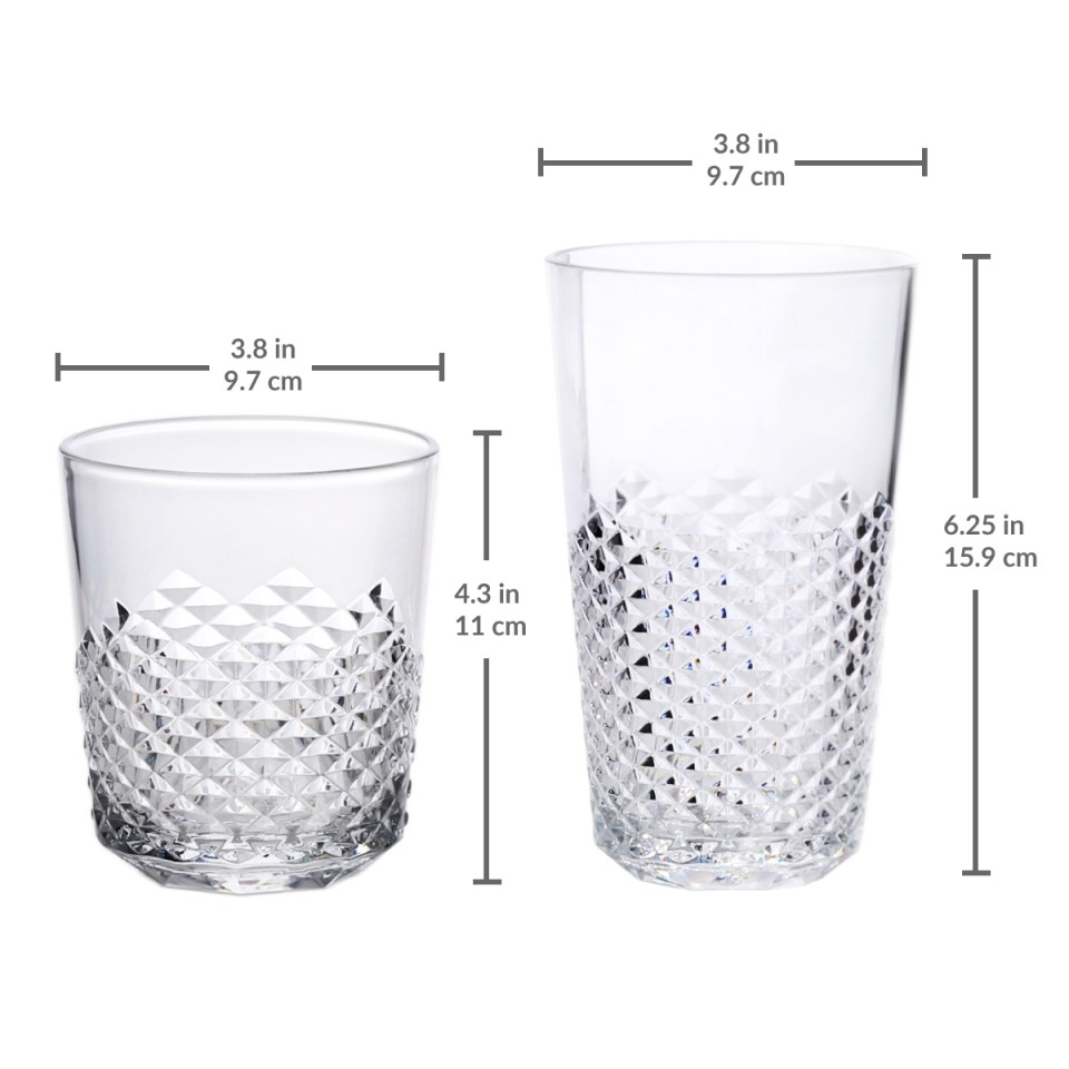 8-Pack Cupture Diamond Plastic Tumblers BPA Free 24 oz//14 oz Clear