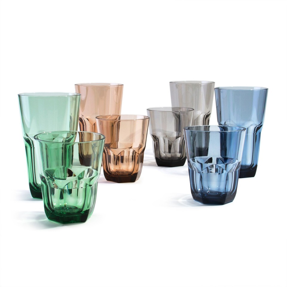 Acrylic Plastic 14 /& 22 oz Drinking Glass Tumbler Set of 8 in 4 Assorted Colors